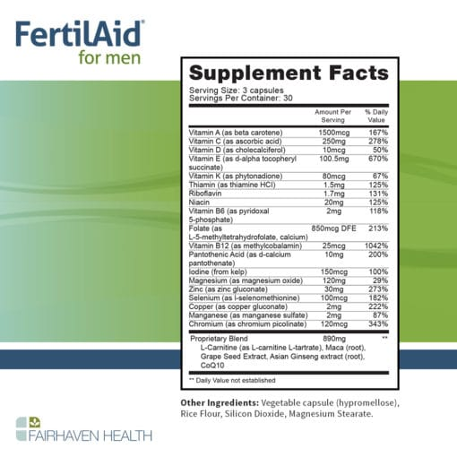 FertilAid for Men LS Supplement Facts
