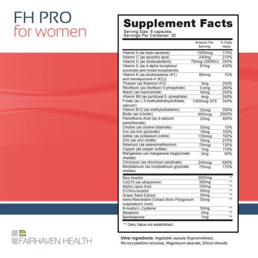 FH PRO for Women Supplement Facts