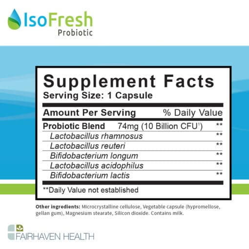 IsoFresh Probiotic Supplement Facts