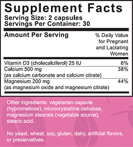 PeaPod Cal-Mag Supplemental Facts